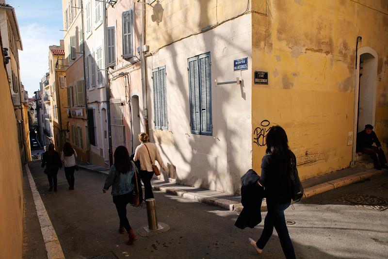 Bryn Mawr College students on 360° class study tour, Le Panier district of Marseille, France, 10 March 2013