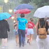 Braving one of many downpours during Move-In Day.