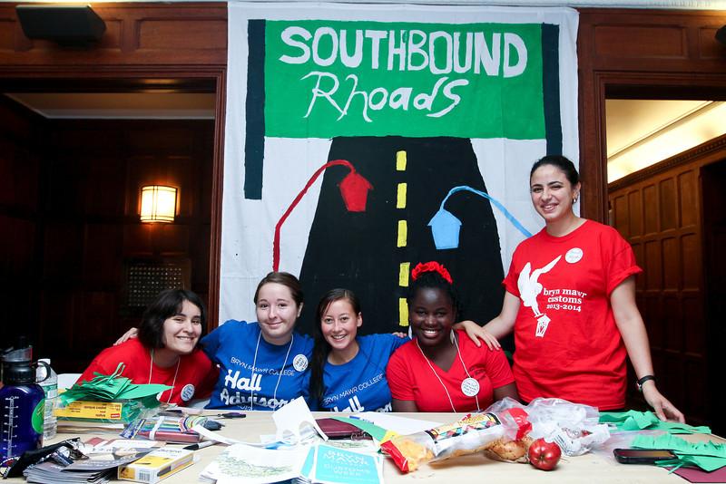 Rhodes South customs: Marisa Arellano '16, Ashley Hahn '14, Kim Wiley, '15, Mfon-ido Akpan '15, and Shorouk Badir '16.