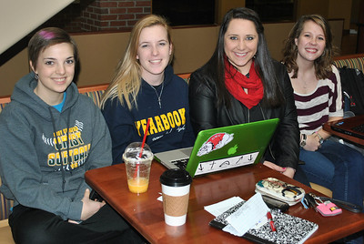 2-14-13: Students Lou Owoc, Caitlyn Brotherton, Brittany Kertesz, and Ruth Anna Housand hanging out at Tucker.