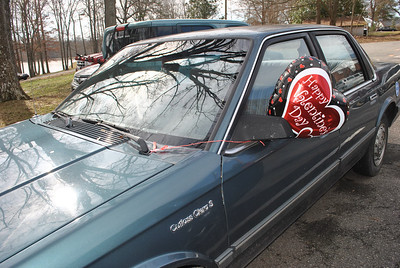 2-14-13: A Valentines balloon left on someone's car outside of Nanny.