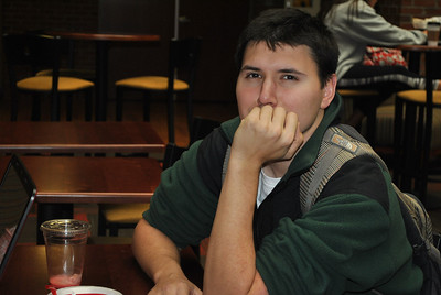 2-14-13: Student David Stewart hanging out in tucker.