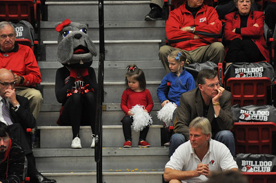 Lulu watches the game from the sidelines. GWU vs Winthrop University Tuesday February 19, 2013.