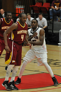 Jerome Hill defends against Winthrop University Tuesday February 19, 2013.