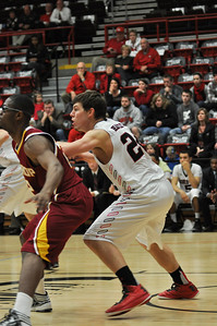 Kevin Hartley posts up against Winthrop University Tuesday February 19, 2013.