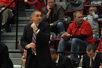Coach Holtmann during GWU vs Winthrop University Tuesday February 19, 2013.