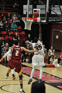 Jerome Hill makes a layup against Winthrop University Tuesday February 19, 2013.