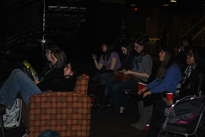 Students gather to watch the super bowl together in Tucker.