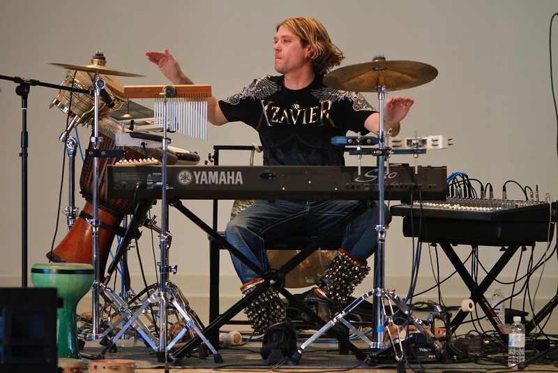 Mannheim Steamroller's Tom Sharpe performs for students and community at Gardner-Webb University; February 2013.