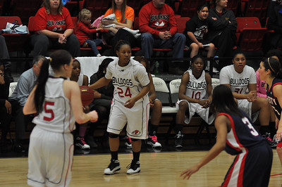 Mayhana Dunovant sets up a play Liberty University on February 23, 2013.