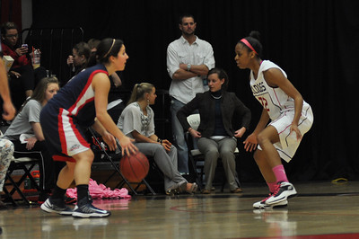 Candace Brown defends against Liberty University on February 23, 2013.