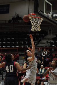 Lana Doran takes a shot against Liberty University on February 23, 2013.