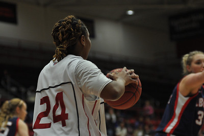 Mayhana Dunovant passes the ball in against Liberty University on February 23, 2013.