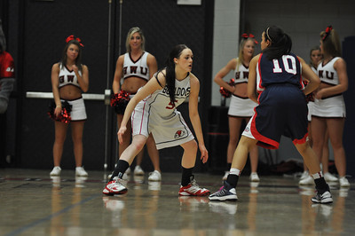 Lana Doran defends against Liberty University on February 23, 2013.
