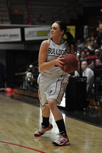 Lana Doran looks for a pass during the game against Liberty University on February 23, 2013.