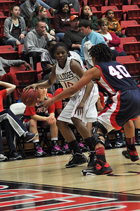 Doreen Richardson drives the ball against Liberty University on February 23, 2013.