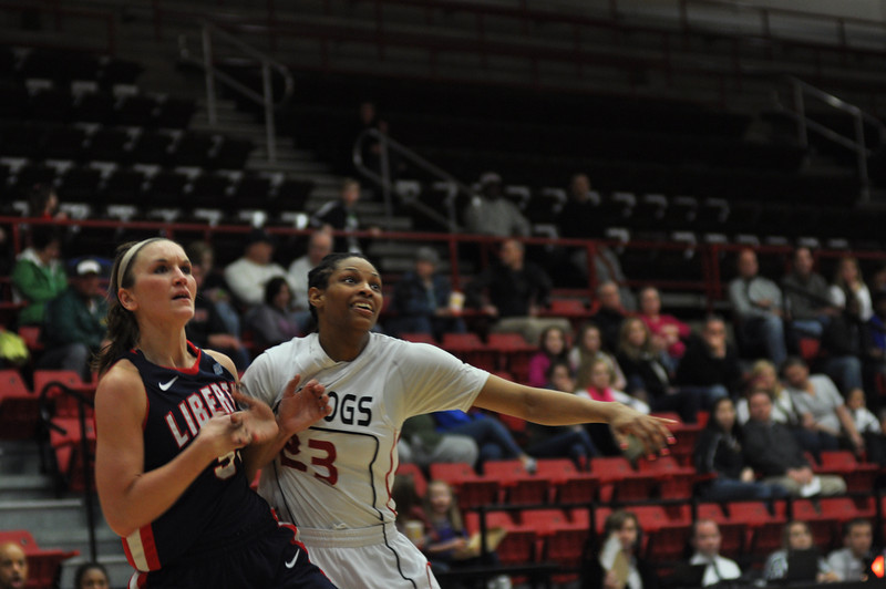 Jessica Heilig posts up for a rebound against Liberty University on February 23, 2013.