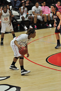 Mayhana Dunovant drives the ball against Liberty University on February 23, 2013.