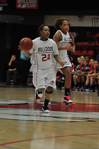 Mayhana Dunovant brings the ball down the court against Liberty University on February 23, 2013.
