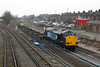 26 February 2013 :: The going away shot of 37602 T & T with 37607 at Eastleigh working from Crewe Coal Sidings to Winfrith