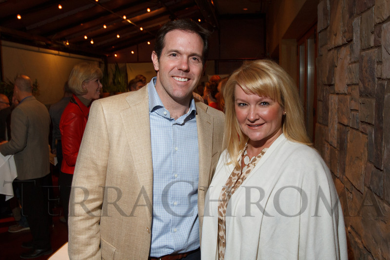 Brian Griese and Kasia Iwaniczko MacLeod.  Hot Rocks VIP Preview party at Elway's restaurant, Cherry Creek, in Denver, Colorado, on Tuesday, Feb. 5, 2013.<br /> Photo Steve Peterson