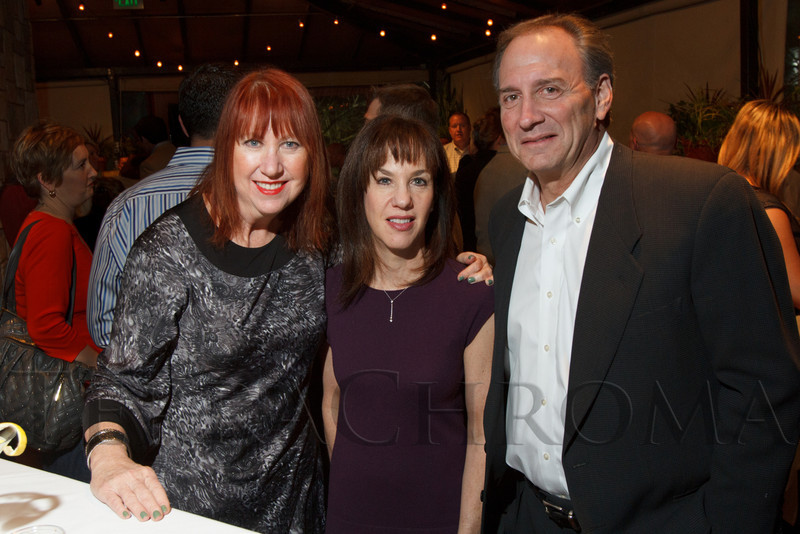 Penny Parke, Ellen Robinson, and Les Shapiro.  Hot Rocks VIP Preview party at Elway's restaurant, Cherry Creek, in Denver, Colorado, on Tuesday, Feb. 5, 2013.<br /> Photo Steve Peterson