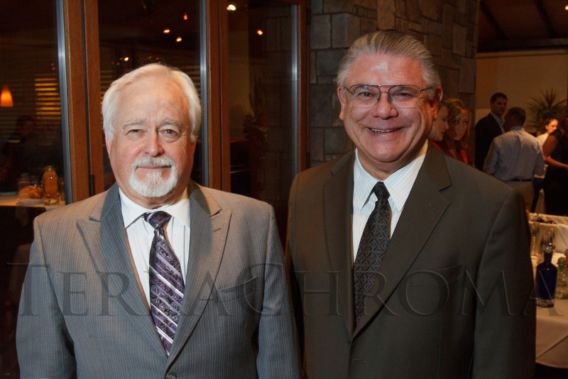 Terry Howell and Dr. Arthur Gonzalez.  Hot Rocks VIP Preview party at Elway's restaurant, Cherry Creek, in Denver, Colorado, on Tuesday, Feb. 5, 2013.<br /> Photo Steve Peterson