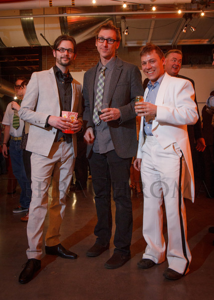 "Kevin Delk, Brian Cook, and Chris Parezo.  ""Design After Dark"" event, themed ""Cirque,"" benefiting the Denver Art Museum, at the McNichols Civic Center Building in Denver, Colorado, on Friday, Feb. 8, 2013.<br /> Photo Steve Peterson"
