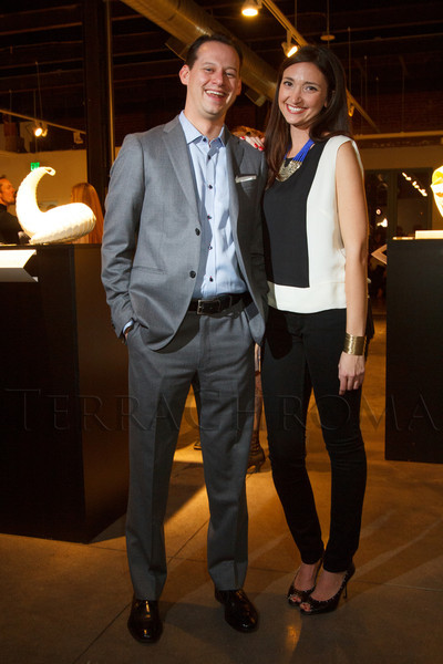 "Thomas Smith (Director of the Petrie Institute of Western American Art) and Shara Brokaw.  ""Design After Dark"" event, themed ""Cirque,"" benefiting the Denver Art Museum, at the McNichols Civic Center Building in Denver, Colorado, on Friday, Feb. 8, 2013.<br /> Photo Steve Peterson"