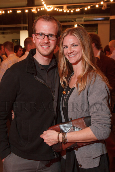 """Ross Cohlmia and Meredith Moran.  """"Design After Dark"""" event, themed """"Cirque,"""" benefiting the Denver Art Museum, at the McNichols Civic Center Building in Denver, Colorado, on Friday, Feb. 8, 2013.<br /> Photo Steve Peterson"""
