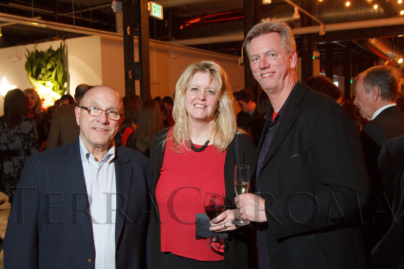 """Gary Landis, Carrie Makenna, and Craig Rouse (event co-chair).  """"Design After Dark"""" event, themed """"Cirque,"""" benefiting the Denver Art Museum, at the McNichols Civic Center Building in Denver, Colorado, on Friday, Feb. 8, 2013.<br /> Photo Steve Peterson"""