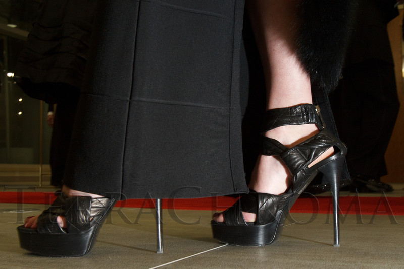 "Tatyana Popkova's 5-inch Burberry shoes.  ""The Premiere,"" an event hosted by the University of Colorado Hospital Foundation and benefiting the University of Colorado Hospital Emergency Department, at the Department of Emergency Medicine, University of Colorado Hospital, in Aurora, Colorado, on Saturday, Feb. 9, 2013.<br /> Photo Steve Peterson"