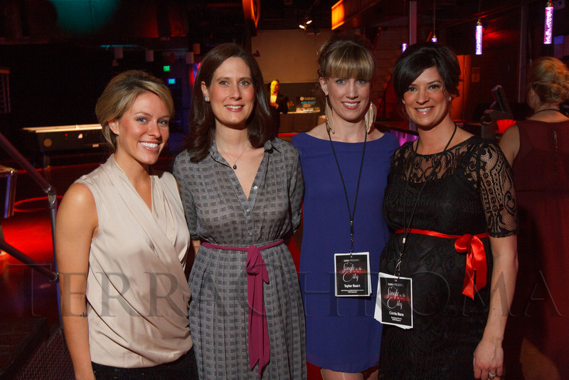 "With 5280:  Caitlin Ferrell, Remy Spreeuw (Associate Publisher), Taylor Roark, and Carrie Horn.  ""Single in the City 2013,"" presented by 5280 magazine, at Exdo Event Center in Denver, Colorado, on Friday, Feb. 15, 2013.<br /> Photo Steve Peterson"