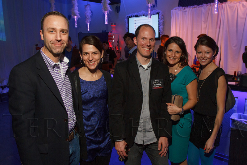 """Geoff and Stefania Van Dyke, Kent Odendahl, Andrea Bott, and Marisa Fewtrell.  """"Single in the City 2013,"""" presented by 5280 magazine, at Exdo Event Center in Denver, Colorado, on Friday, Feb. 15, 2013.<br /> Photo Steve Peterson"""