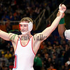 Oregon's Brandon Sklavanitis celebrates his title in the 170 pound Class 1A State Wrestling Tournament.