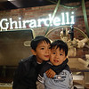 after we got back to san francisco, we went to Ghiradelli to have ice cream. We saw the big machines making fresh chocolate.