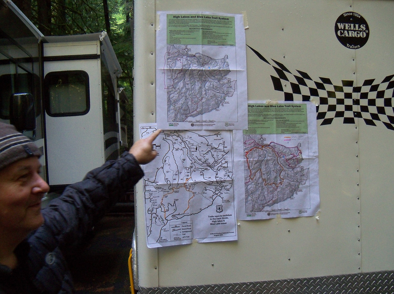 """Friday it rained all day.. Bill & Scott did a wet trail ride but the rest of us waited out the weather..<br /> Here we are with Saturday maps, we had four rides going: Greg's """"Adventure"""", Scott's """"Trail"""", Lan's """"DS"""", and Bart's """"Ladies""""..."""