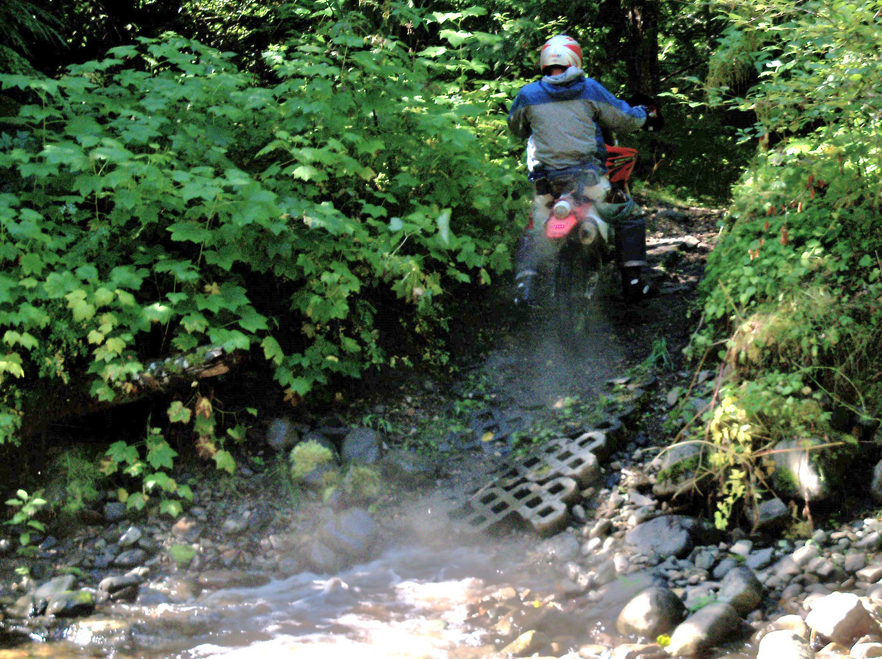 """The """"Trail"""" and """"DS"""" rides followed the same route for the first part.. Bill crossing the creek at the start of 263 trail.."""
