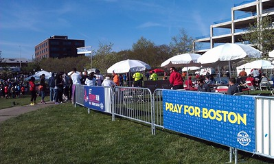 Finish line beer garden in Oronoco Bay Park, the way Boston would have wanted it