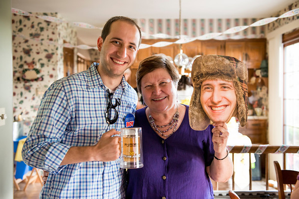 """Since Jess is amazing she took a photo of Gil (that I happened to take back at Tundig) and printed these life-sized """"heads"""" for everyone!   Gil, mom, and Gil :P"""