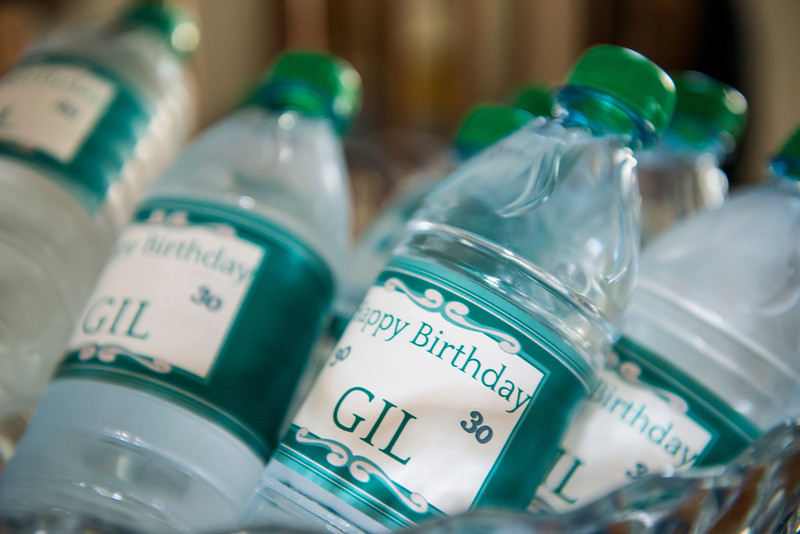 Even the water bottles were specially made for Gil. Like I said, Jess went all out