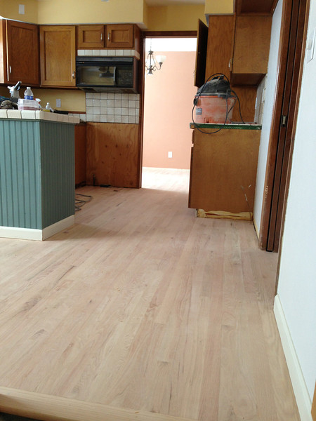 Kitchen after sanding of floor