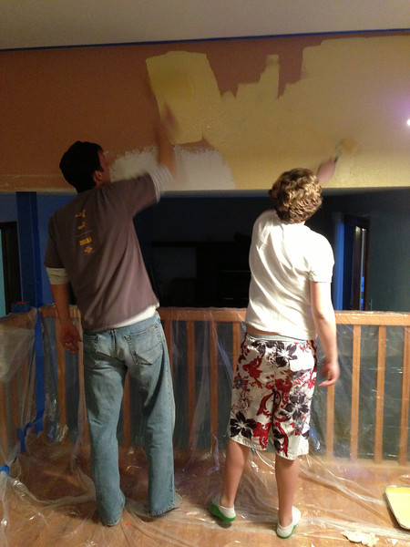 First project we did on our own (painted that little wall between breakfast area and family room).