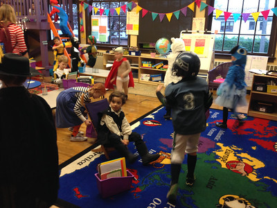 The scene in the classroom at drop-off. Check out Captain Underpants.