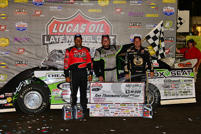 Earl Pearson, Jr. (left) and Steve Francis (right) with race winner Jason Feger in Victory Lane @ Hamilton County Speedway