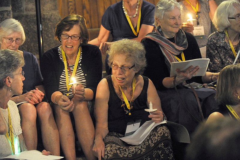 harriet and classmates at Bryn Mawr step sing - 2013 reunion - photo by enid bloch