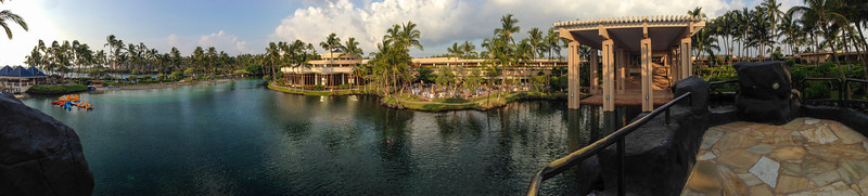 View of the Hilton hotel, from the center of the lagoon