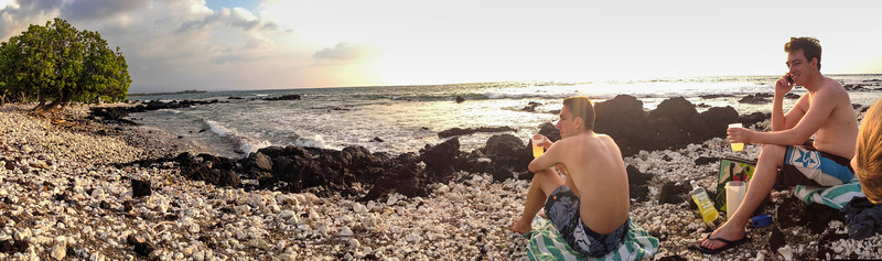 We decided to have some drinks on the beach and watch the sunset. If only there had been clouds for a colorful one