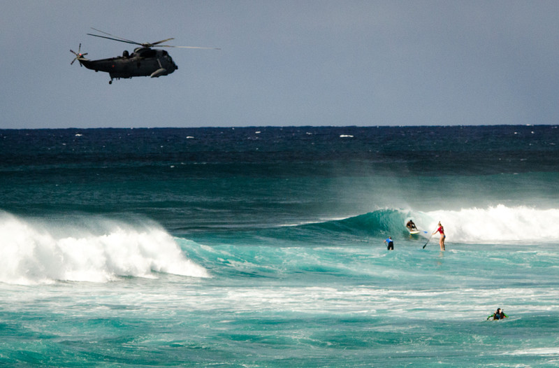 Military training flight required on a good surf day.  Sure boss, we can manage that...