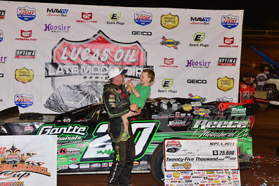 Jimmy & Nathan Owens in Victory Lane for the Hillbilly 100 @ I-77 Raceway Park